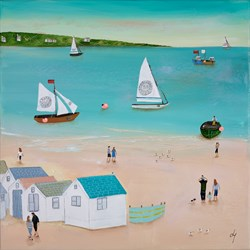 Sailing by the Huts by Lucy Young - Original Painting on Stretched Canvas sized 16x16 inches. Available from Whitewall Galleries
